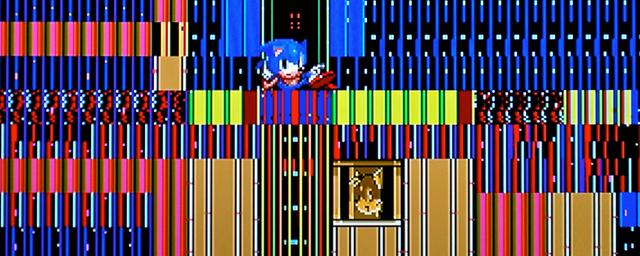Voici un glitch : l'image d'un jeu vidéo rendue de façon imprévue à cause d'erreurs.