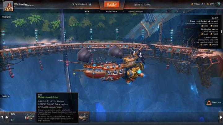 Premiers pas dans Cloud Pirates : choix de navire et lancement de partie
