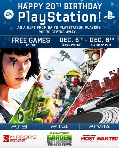 Plants vs. Zombies: Garden Warfare, Mirror's Edge et Need for Speed Most Wanted gratuits sur le PSN