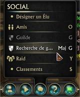 Recherche de guilde - Menu