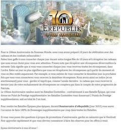 Dix jours de célébration pour les 10 ans d'eRepublik