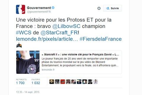 Quand le gouvernement salue les exploits français... eSportifs