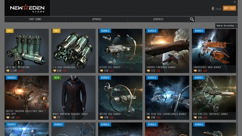 EVE Online - Remaniement de la boutique d'EVE Online, pour susciter l'envie