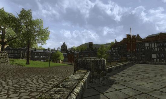 Le quartier de la prison, vu depuis l'hôtel de ville de Bree