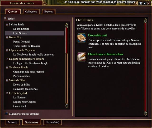 Dans une storyline, la première quête est accomplie, la seconde est en cours.