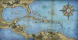 Carte des Caraïbes avec les ports