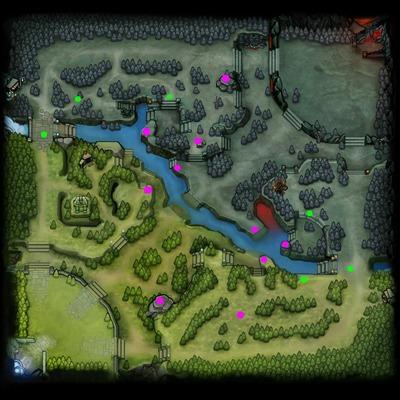 En rose, les emplacements les plus basiques pour placer des Observer Wards. En vert, des emplacements situationnels courants.