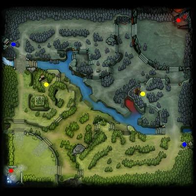 En rouge, les deux magasins des fontaines (on peut acheter même à la fontaine ennemie) En bleu, les deux magasins sur les lignes de côté (side shops) En jaune, les deux magasins secrets (objets exclusifs !)