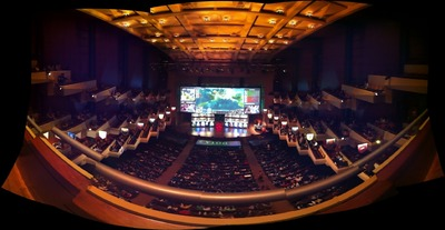 Panorama de la salle du Benaroya Hall au premier jour des phases finales, The International 2013