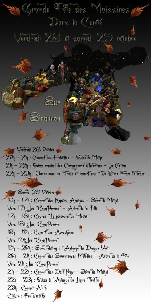 Le Seigneur des Anneaux Online - Grande fête des Moissines sur Sirannon les 28 & 29 octobre