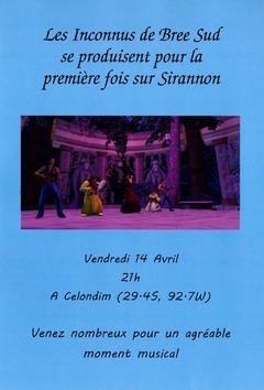 Les Inconnus de Bree Sud en concert à Celondim vendredi 14 avril à 21h00