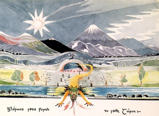 Dessin de Tolkien - Glaurung sets forth to seek Turin