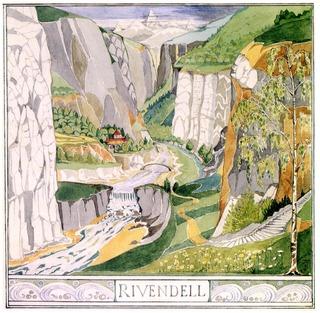 Dessin de Tolkien - Rivendell