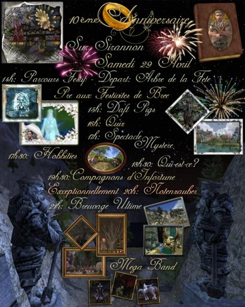 Le Seigneur des Anneaux Online - Fête du 10ème anniversaire sur Sirannon, Samedi 29 avril