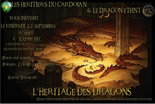 Soirée RP : L'héritage des dragons, une soirée à conter ou à savourer le 22 septembre