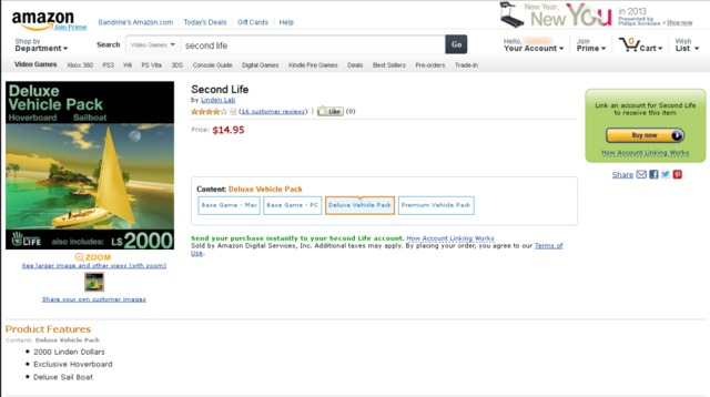 Second Life disponible sur Amazon (Mise à jour)