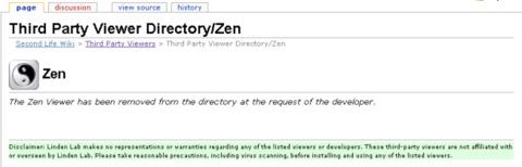 Second Life - Zen viewer supprimé de la liste des Third Party Viewers