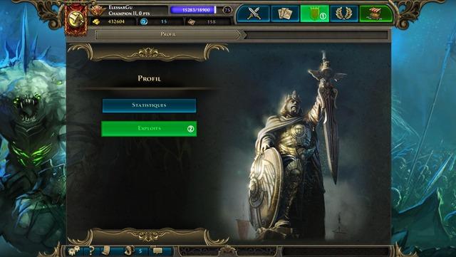 Voici comment accéder au menu « exploits »