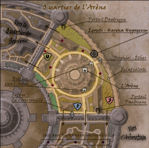 Carte commentée du Quartier de l'Arène