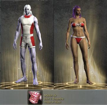 Maillot de bain rouge et blanc