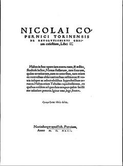 1543 : De revolutionibus orbium coelestium