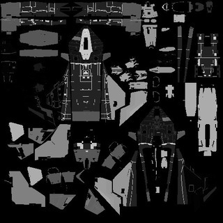 Figure 4 : L'une des textures montrant le Gladius déplié, que nous utilisons pour déterminer la localisation des dégâts d'un coup spécifique. Chaque couleur représente une partie de vaisseau qui peut bouger indépendamment ou se détacher