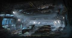 La conception du hangar asteroïde, prémisse des planètes de Star Citizen