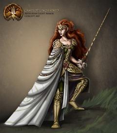 Image conceptuelle d'une guerrière humaine en armure légère