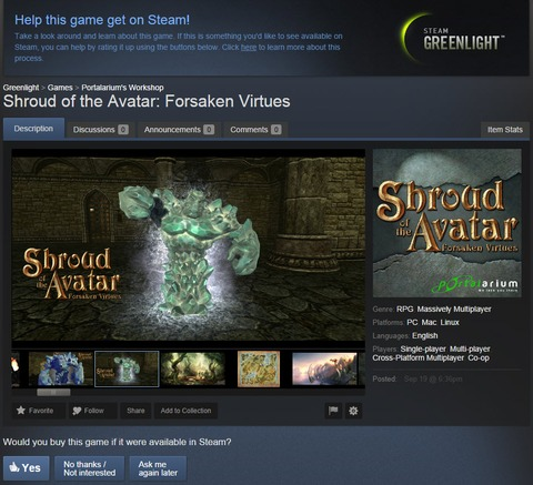 Shroud of the Avatar - Shroud of the Avatar sur Steam Greenlight