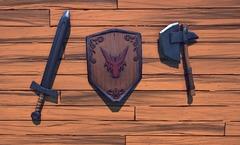 Des haches, des épées et des boucliers au mur