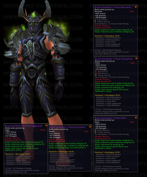 World of Warcraft - Sets de gladiateur de la saison 4