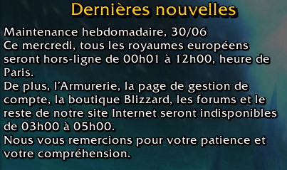 Maintenance et patch 3.3.5