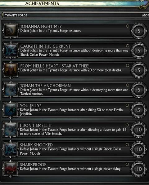 Une partie des exploits de la Forge du Tyran