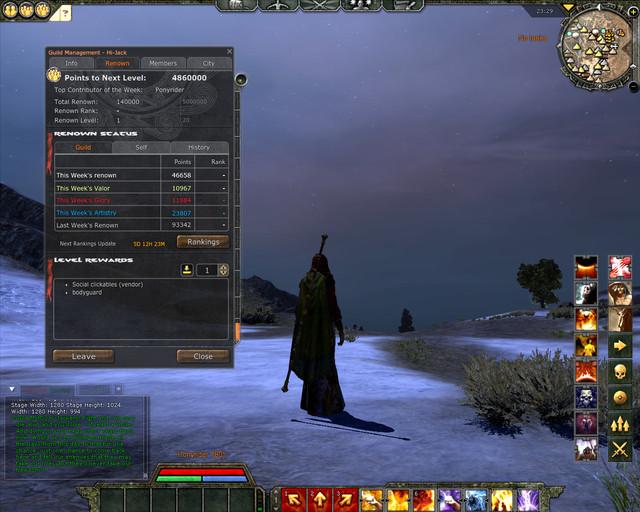 Renommée de guilde : interface