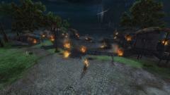 Village du lac Doric en flammes