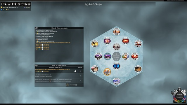 L'écran de gestion des faveurs hivernales accessible via la construction de l'Autel d'Auriga