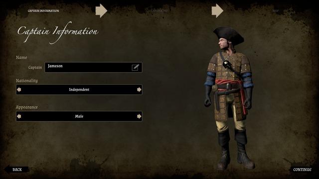 Choisissez le nom, la nationalité et le sexe de votre capitaine