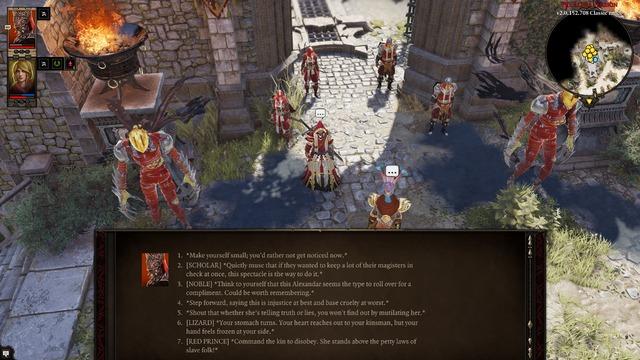 """Ici, le joueur dispose d'options de dialogue liées aux tags """"scholar"""", """"noble"""", """"lizard"""" et """"Red Prince"""". Un autre joueur aurait eu des possibilités sensiblement différentes."""
