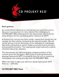 Des documents internes sur Cyberpunk 2077 piratés, pour faire chanter CD Projekt
