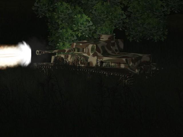 Offensive de nuit : un Panzer IV G harcèle les défenses.