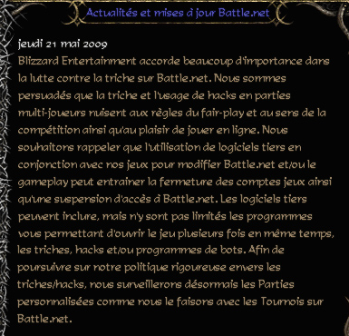 Message de Blizzard