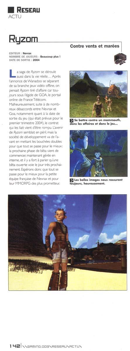 Article sur Ryzom dans la revue GAMING de Janvier