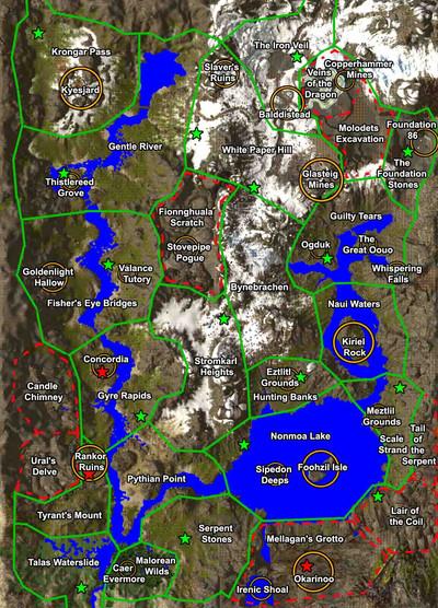 """Secteurs et points de repère de la région """"Alpine Timberland"""""""