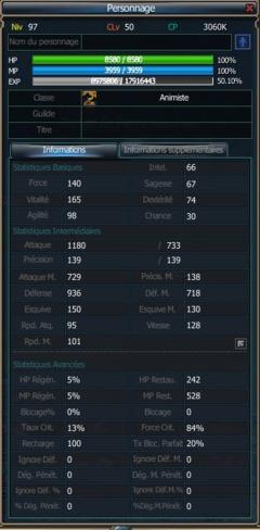 Les statistiques des personnages