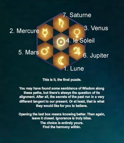 Le Sanctuaire des Secret, alignement des planètes
