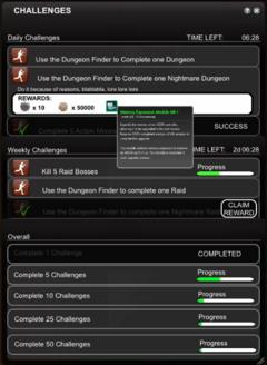 Version de travail provisoire de l'interface de Challenges