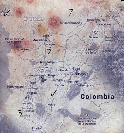 Extrait de carte de la Colombie
