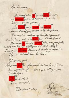 Lettre de Nicolas Belmont avec les mots de la séquence