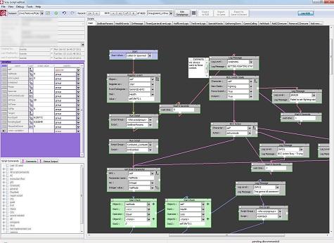 Exemple de script derrière une rencontre utilisant une combinaison de script visuel et de Lua afin de définir le comportement de l'IA et la logique de jeu.