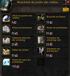 La liste des marchandises du Jardin des nobles